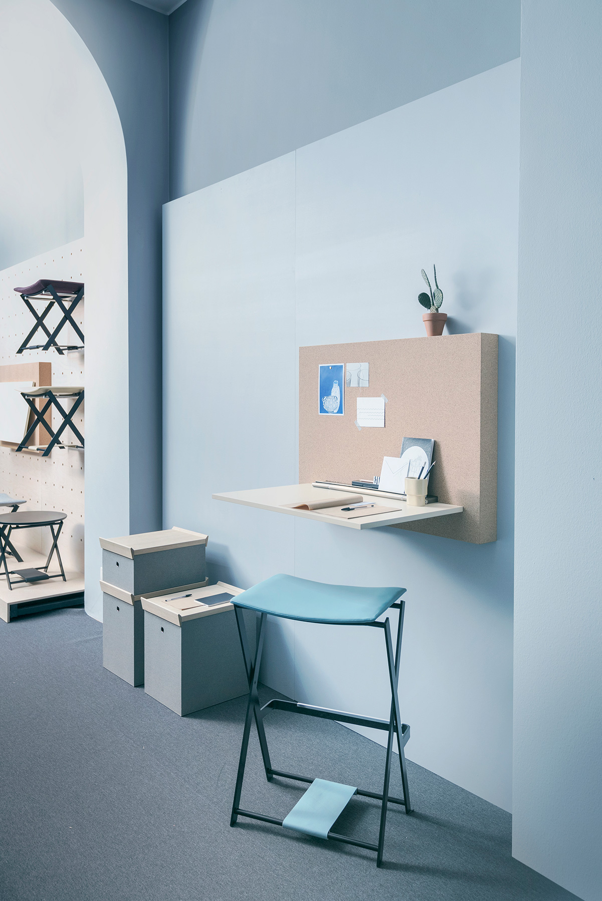 My Little Office and light blue Fogg stool